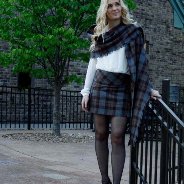 OUTLANDER Billie-Style Kilted Mini-Skirt Poly/Viscose