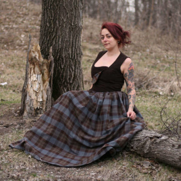 OUTLANDER Gathered Skirt Poly/Viscose Tartan