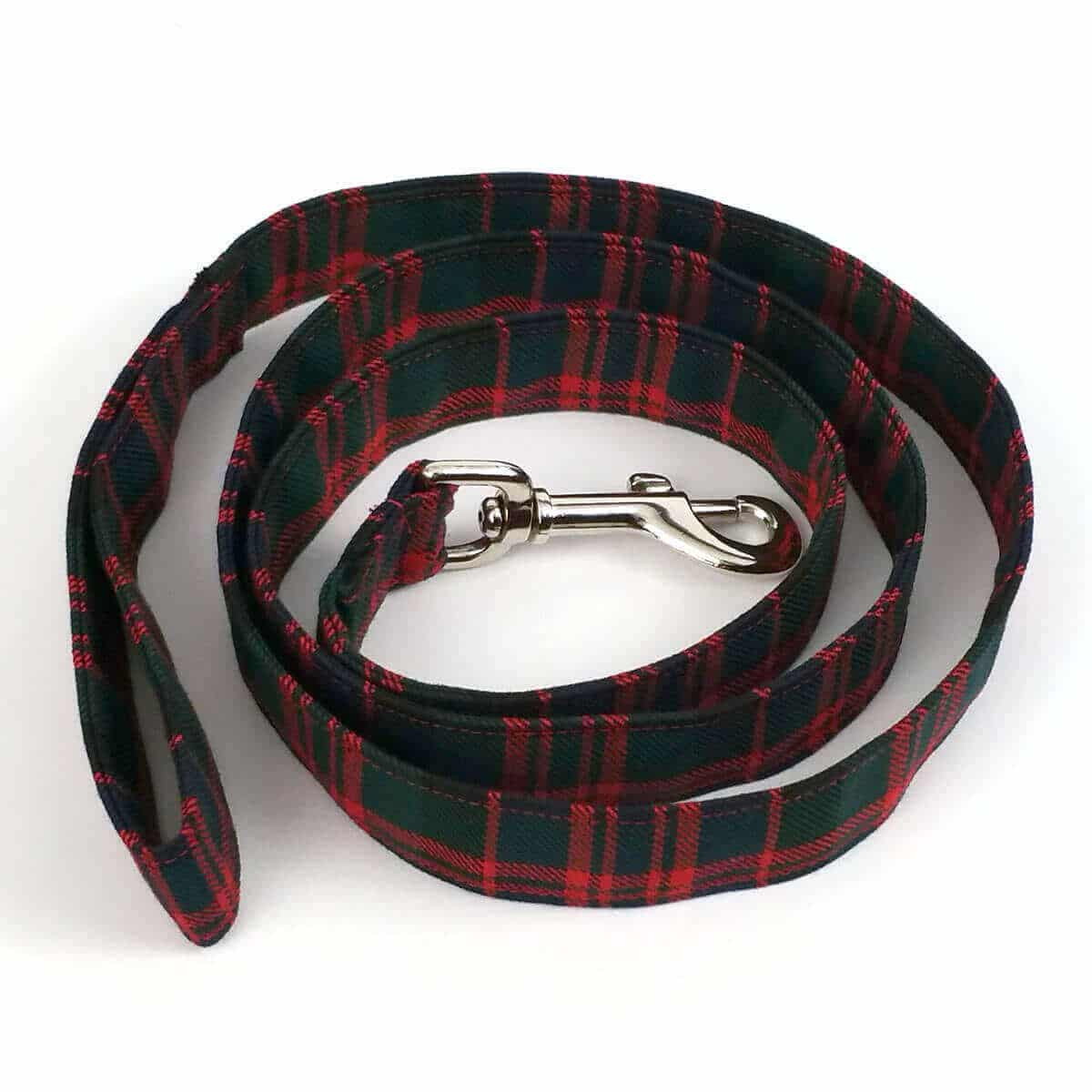 Light Weight Premium Wool 2-Inch Tartan Dog Collar and Leash Set