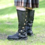 Premium Quality Leather Knee-High Boots - Black with Brown Trim