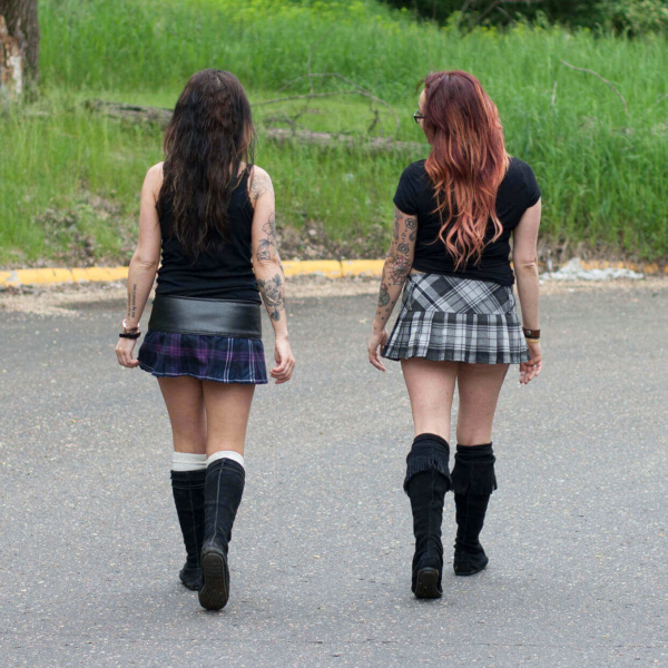Poly/Viscose Billie-Style Kilted Mini-Skirts