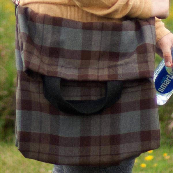 Light Weight Premium Wool Messenger-Style Tartan Tote Bag