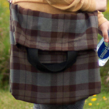 Homespun Wool Blend Messenger-Style Tartan Tote Bag