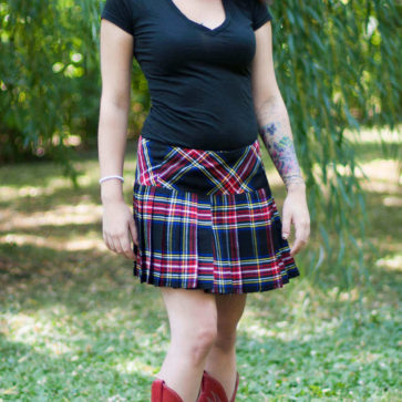 Homespun Wool Blend Kilted Mini Skirts