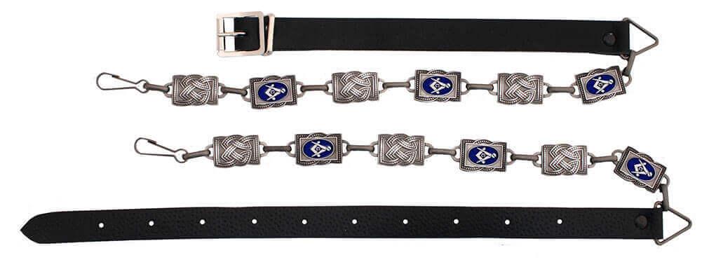 Masonic Antiqued-Silver Sporran Chain Strap