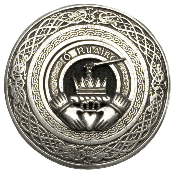 Irish Family Crest Round Pewter Kilt Belt Buckle