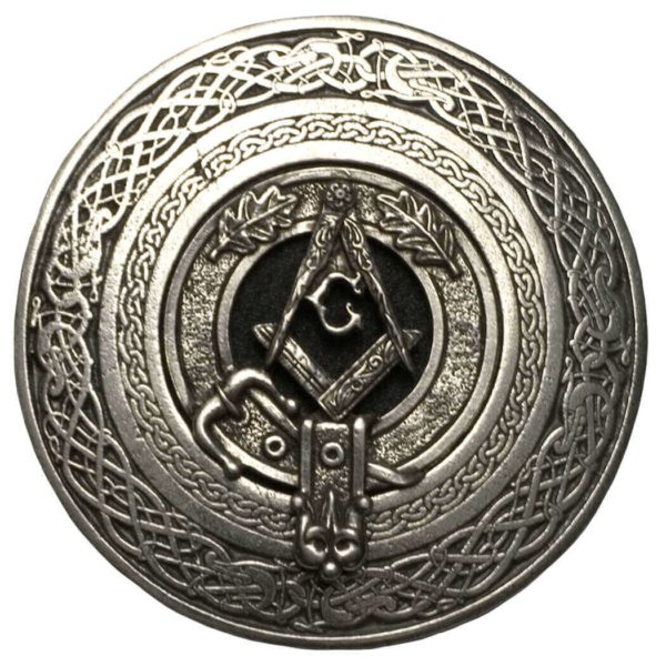 Masonic Round Pewter Kilt Belt Buckle