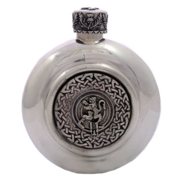 Clan Crest Antiqued Pewter Flask