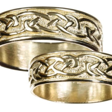 Mens 10K Gold Celtic Wedding Band