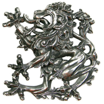 Don McKee Pewter Lion Plaid Brooch