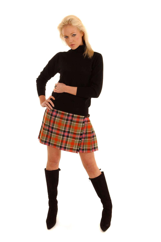 Light Weight Premium Wool Kilted Mini Skirt