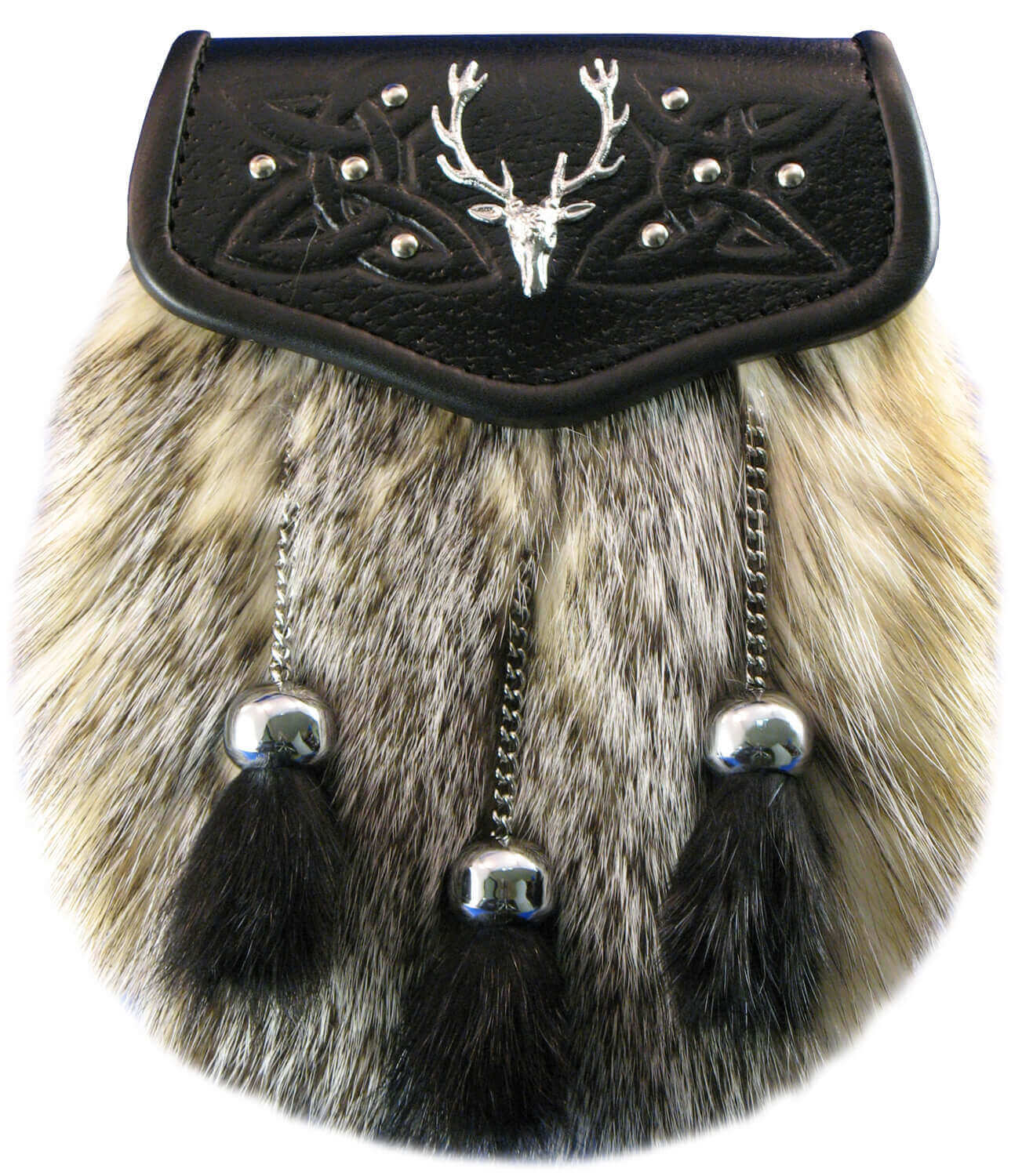 Badger Fur Sporran with Stag Badge