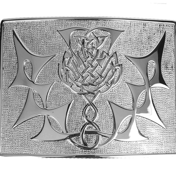 Highland Thistle Chrome Kilt Belt Buckle