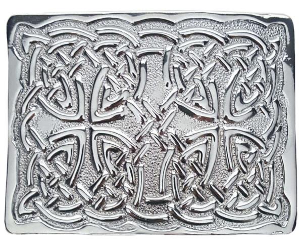 Chrome Celtic Knot Kilt Belt Buckle