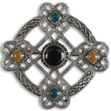 Five Stone Pewter Celtic Cross Brooch