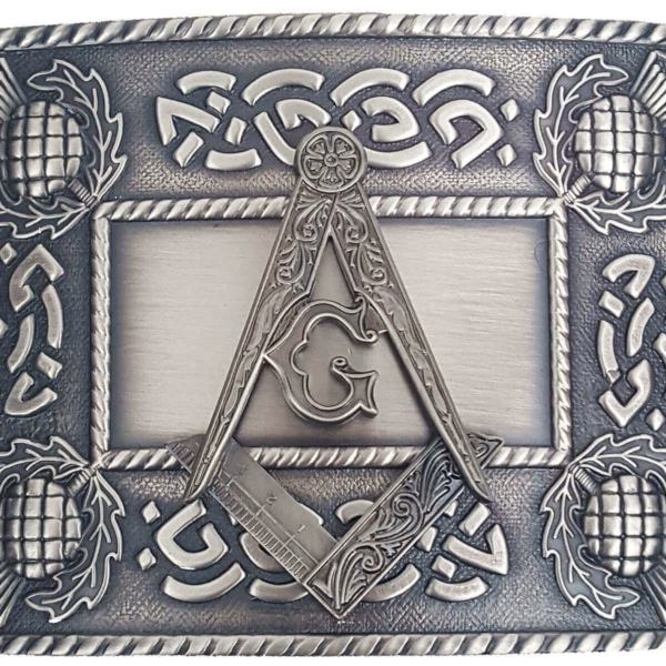 Masonic Antiqued Thistle Kilt Belt Buckle