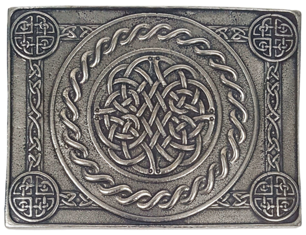 Celtic Weave Pewter Kilt Belt Buckle