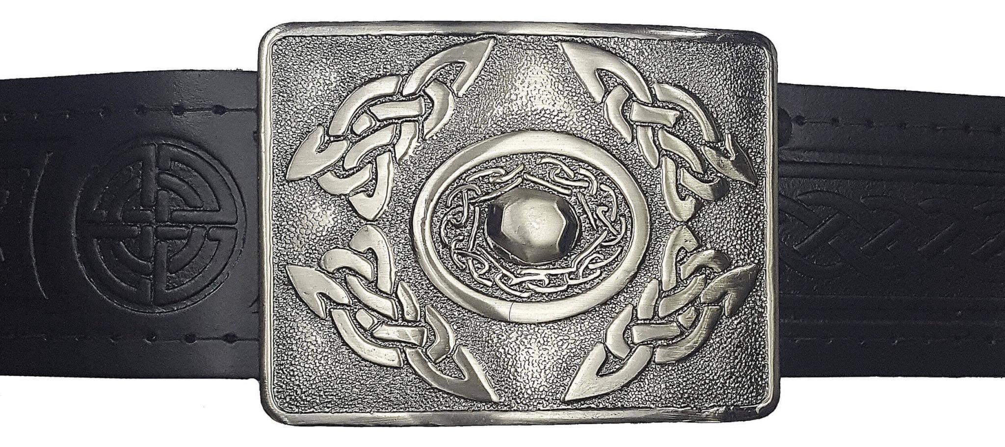 Leather Thistle Design Kilt Belt Black Scottish Chrome Finish Celtic Buckle