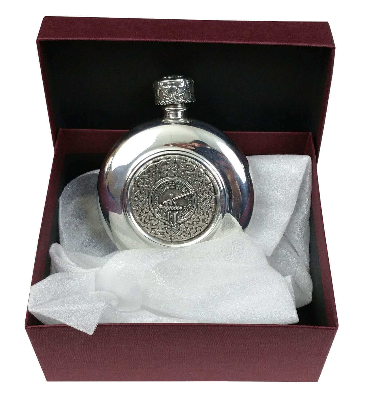 Clan Crest Antiqued Pewter Flask