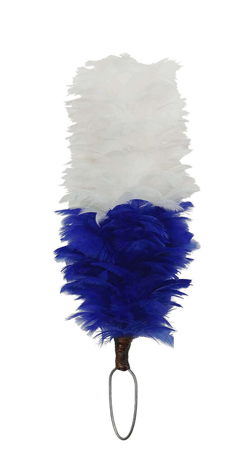 Blue and White Hackle