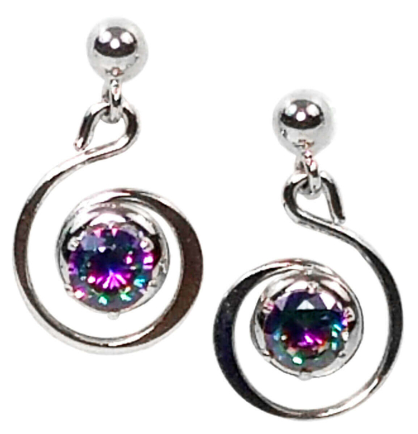 Mystic Crystal Spiral Earrings