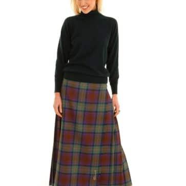 Medium Weight Premium Wool Hostess Kilted Skirt (Tartan List D)