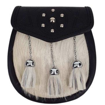 Studded Targe Bovine Premium Fur Sporran