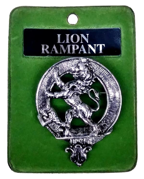 Art Pewter Rampant Lion Cap Badge