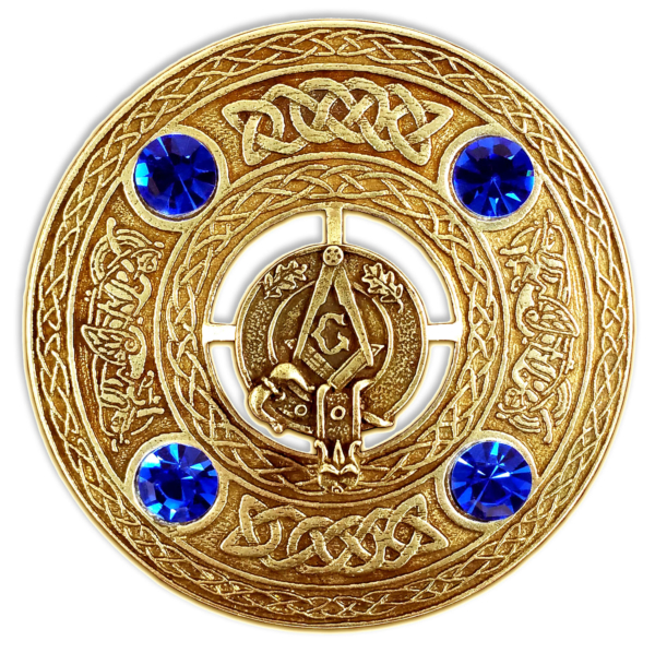 Masonic Plaid Brooch Gold Finish