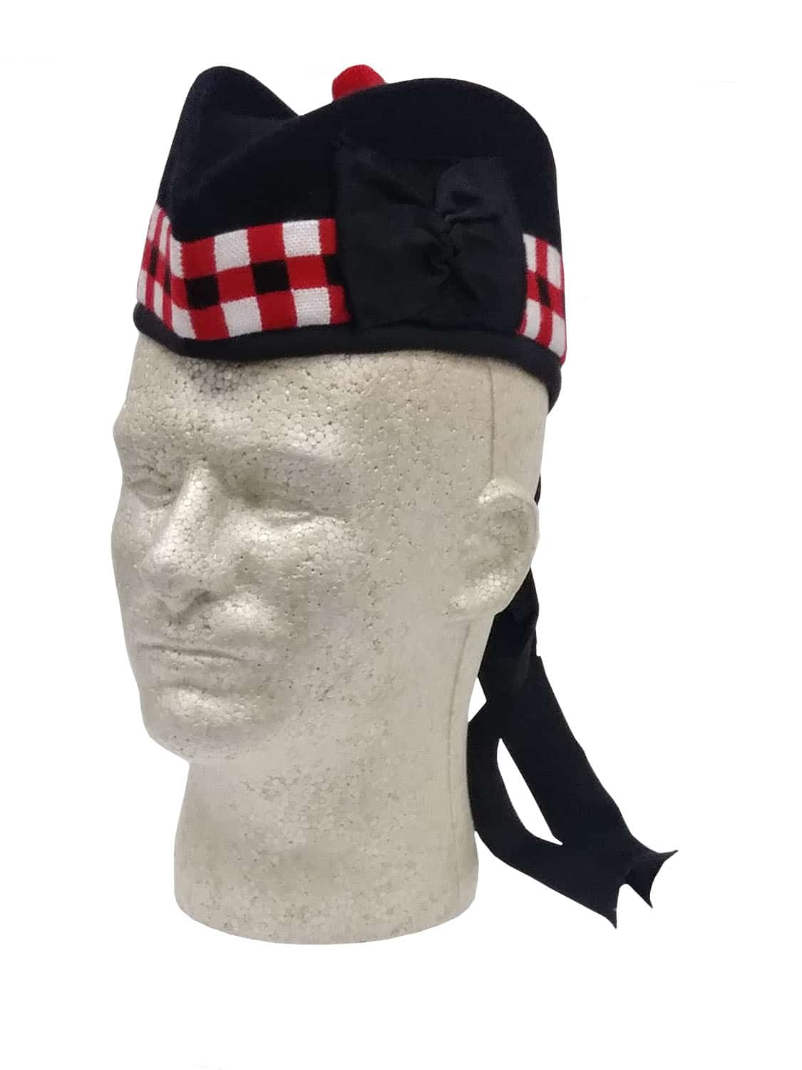 Glengarry Black Diced Scottish hat on a head mannequin from the Celtic Croft