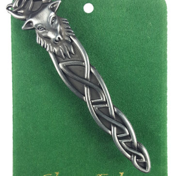 Antiqued Stag Knot Kilt Pin