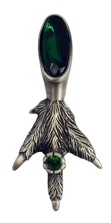Fancy Grouse Claw Kilt Pin Green Gem