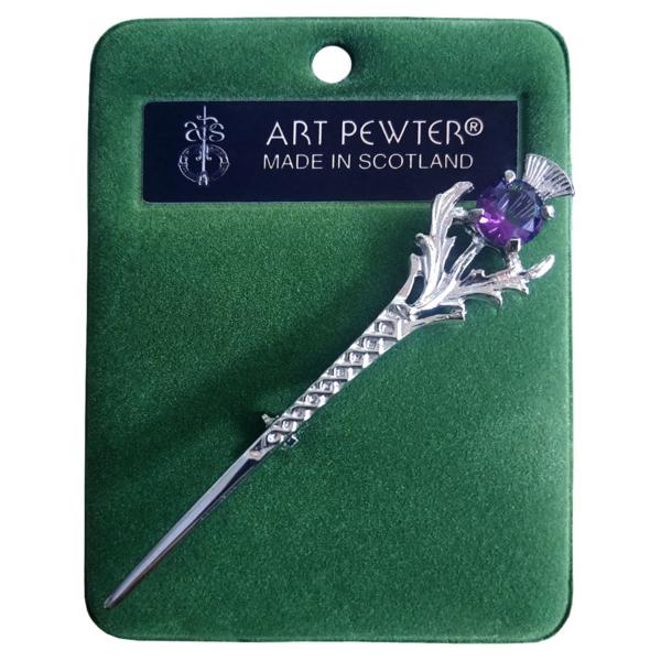 Amethyst Thistle Kilt Pin