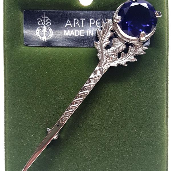 Large Gem Amethyst Thistle Kilt Pin