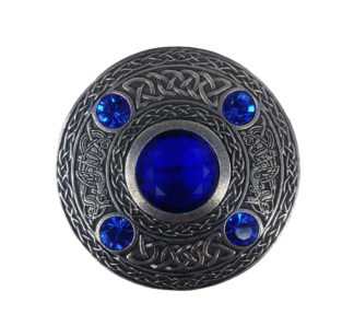Colored Stone Plaid Brooch