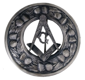 Masonic Plaid Brooch with Thistle