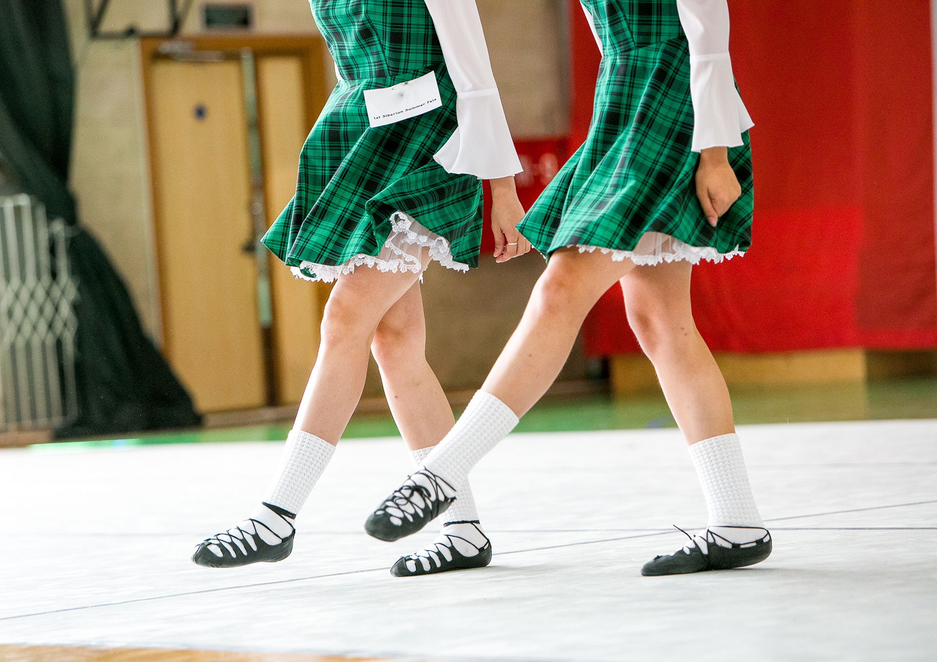 Irish dancing legs in national shoes and dress