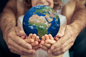 Family Holding Globe