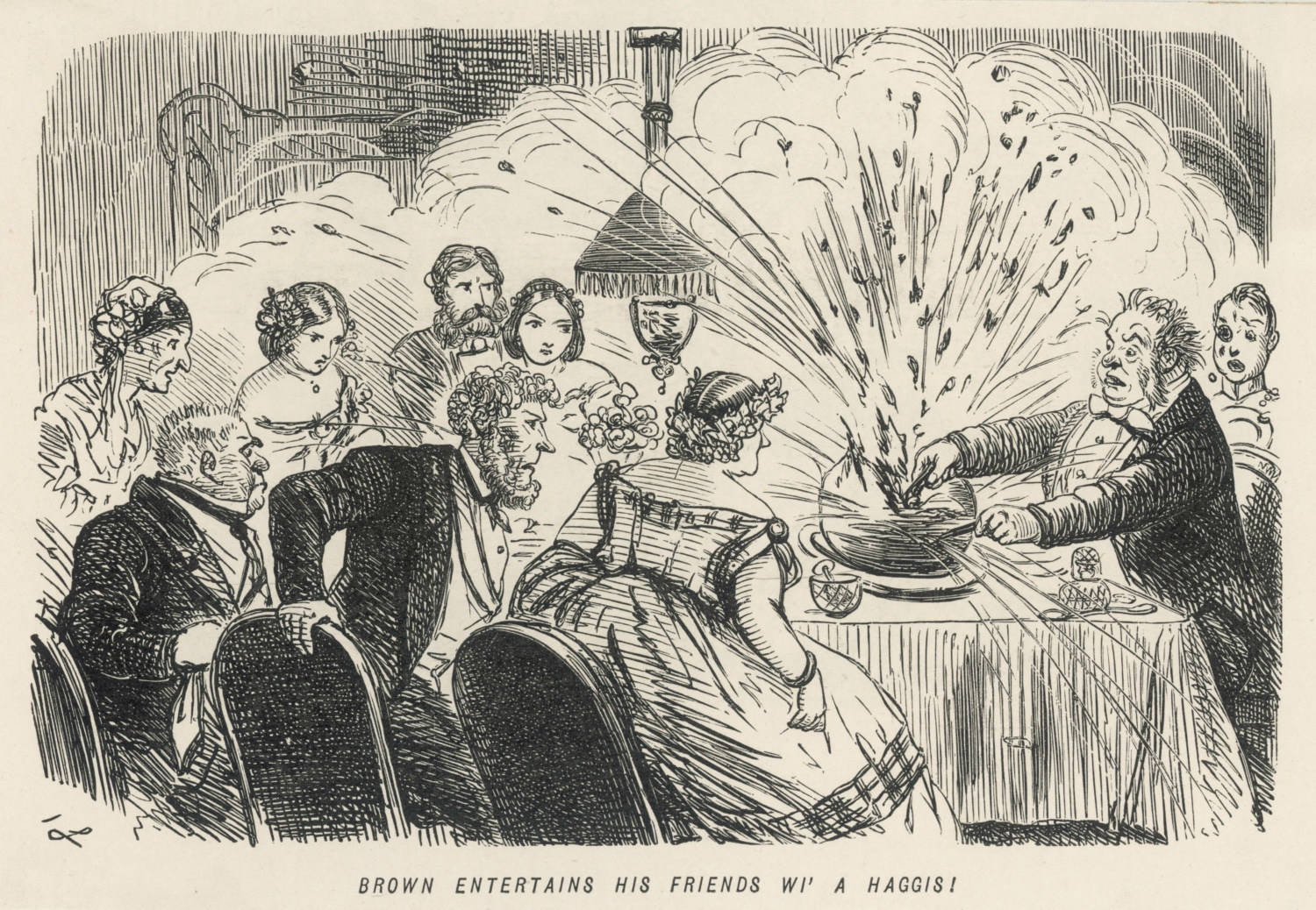 A hstorical drawsing of Haggis being served at a party