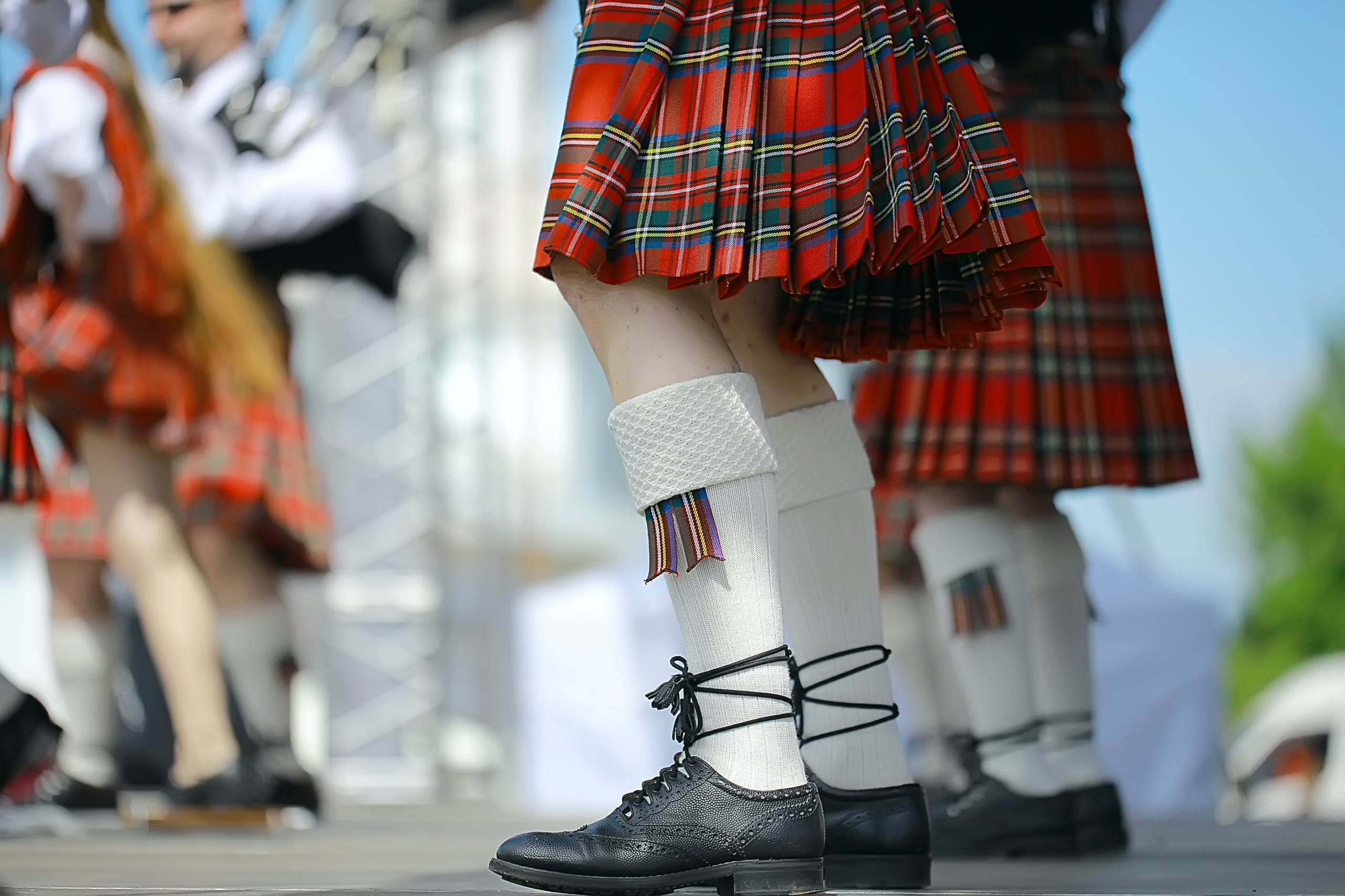 feet in Scottish skirts, the Scottish National Orchestra plays on St. Patrick's Day, holiday costumes for men