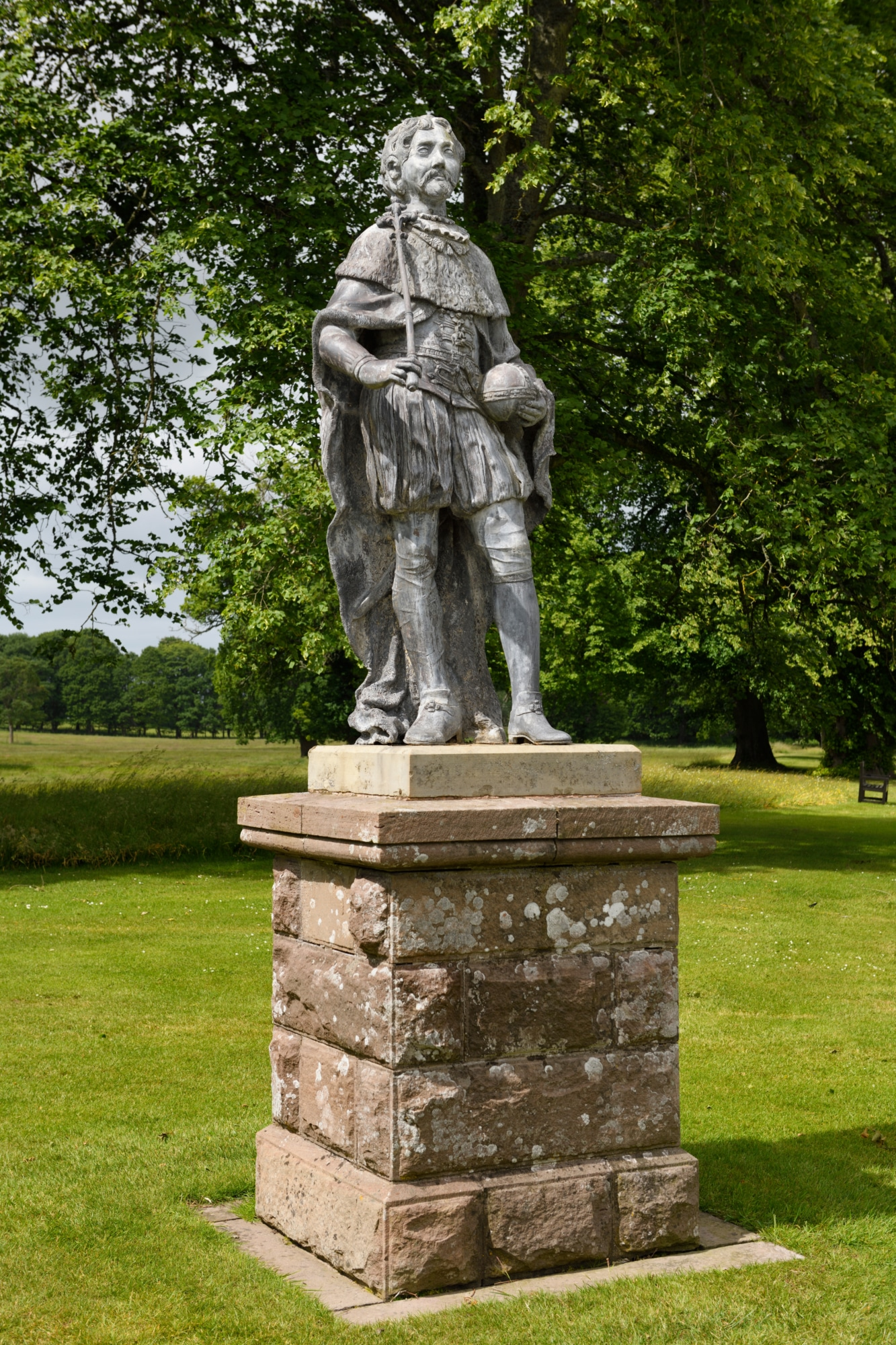 Life size lead statue of King James VI of Scotland and King James I of England with orb and sceptre at Glamis Castle Scotland UK