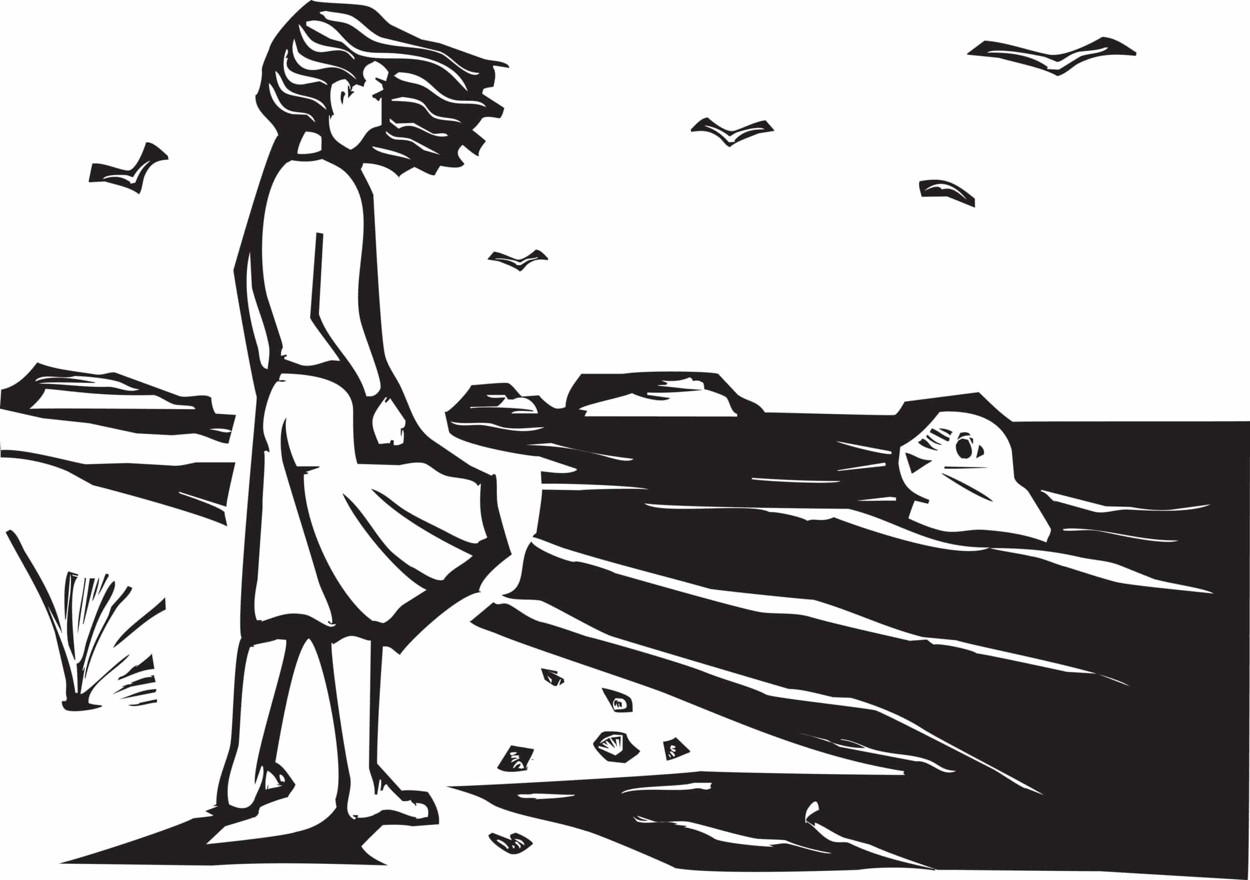 A drawing of a Scottish Selkie, or seal person