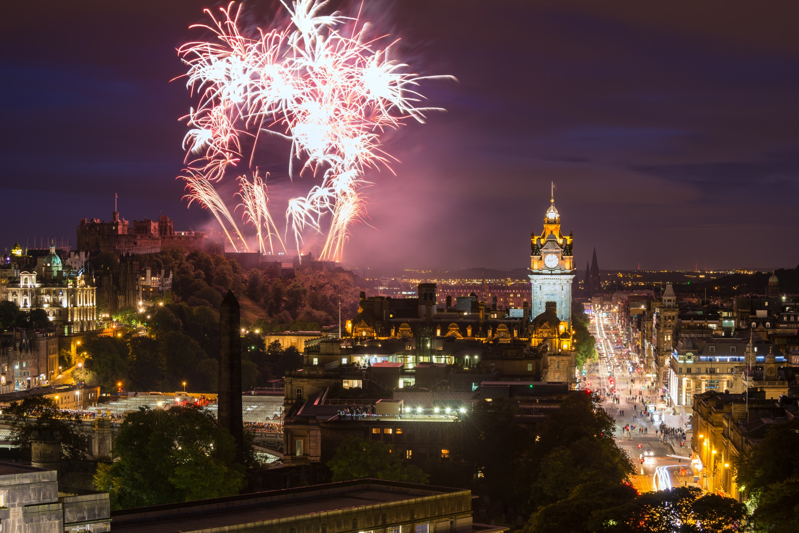 Edinburgh Cityscape with fireworks for Hogmanay