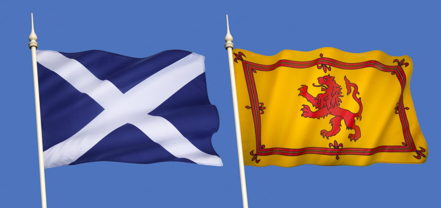 Scottish Flags - The national flag (the Saltire) and the Lion Rampant (Royal Standard of Scotland)