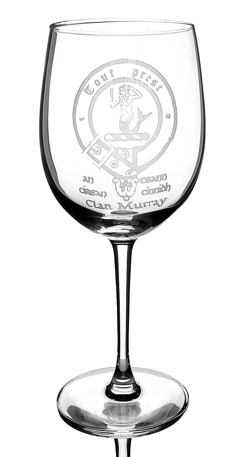 CCT08-CL-1763 Murray Clan Crest Wine Glass