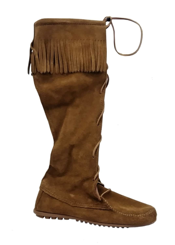 Womens Knee High Suede Boots Dusty Brown