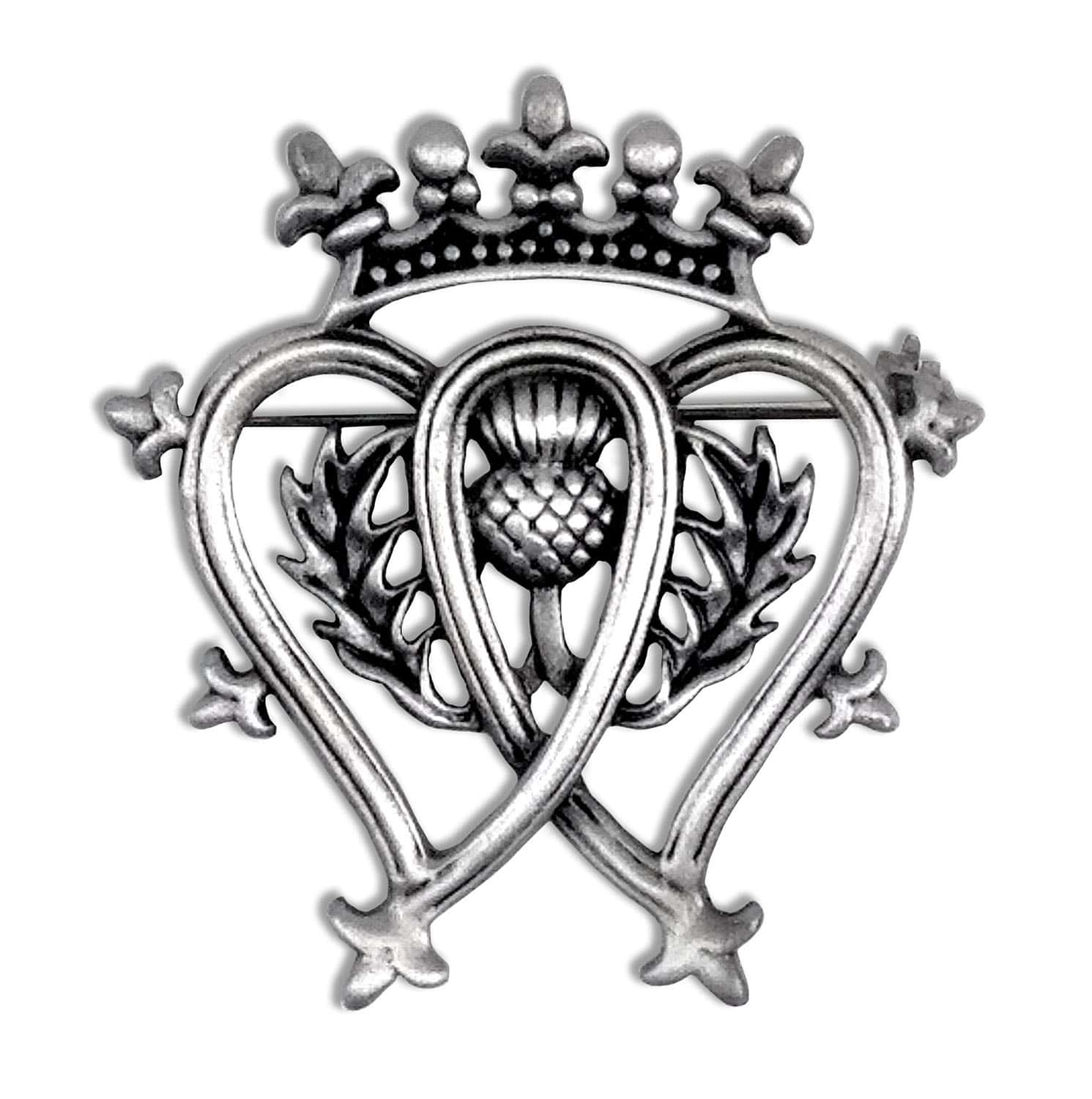 Pewter Brooch With Scottish Luckenbooth Thistle Symbols