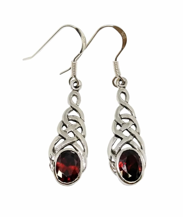 Celtic Knot Garnet Earrings