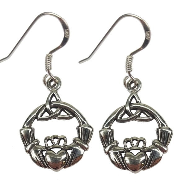 Sterling Silver Triskell Claddagh Earrings