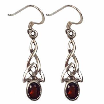 Garnet Triquetra Earrings